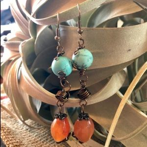 Turquoise Howlite and Coral Dangle Earrings